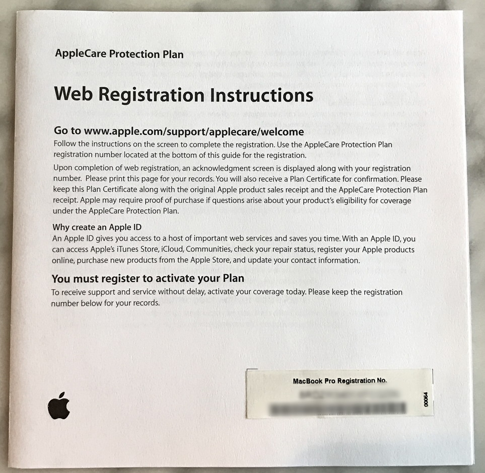 applecare with product registration code
