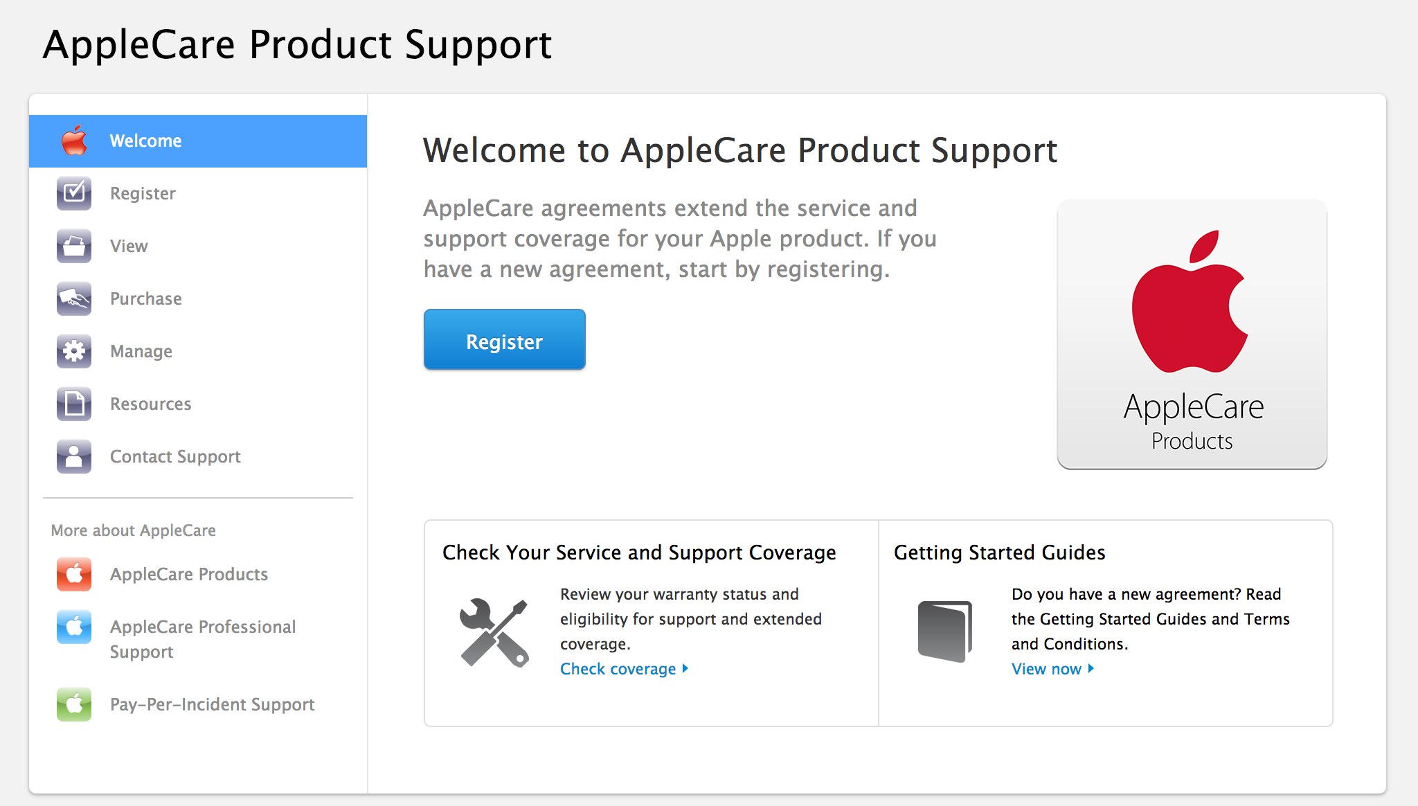 welcome to applecare registration web page
