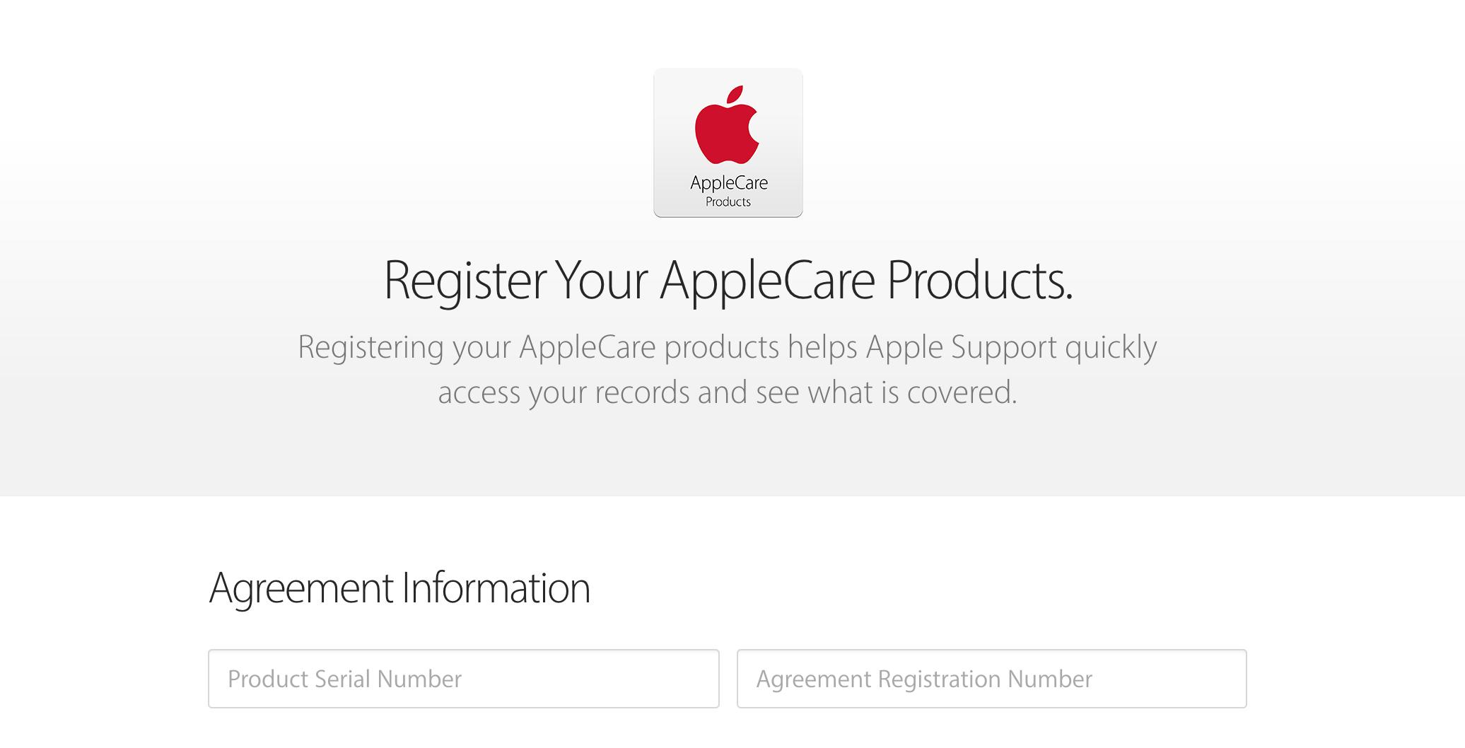 start applecare register enter serial number code