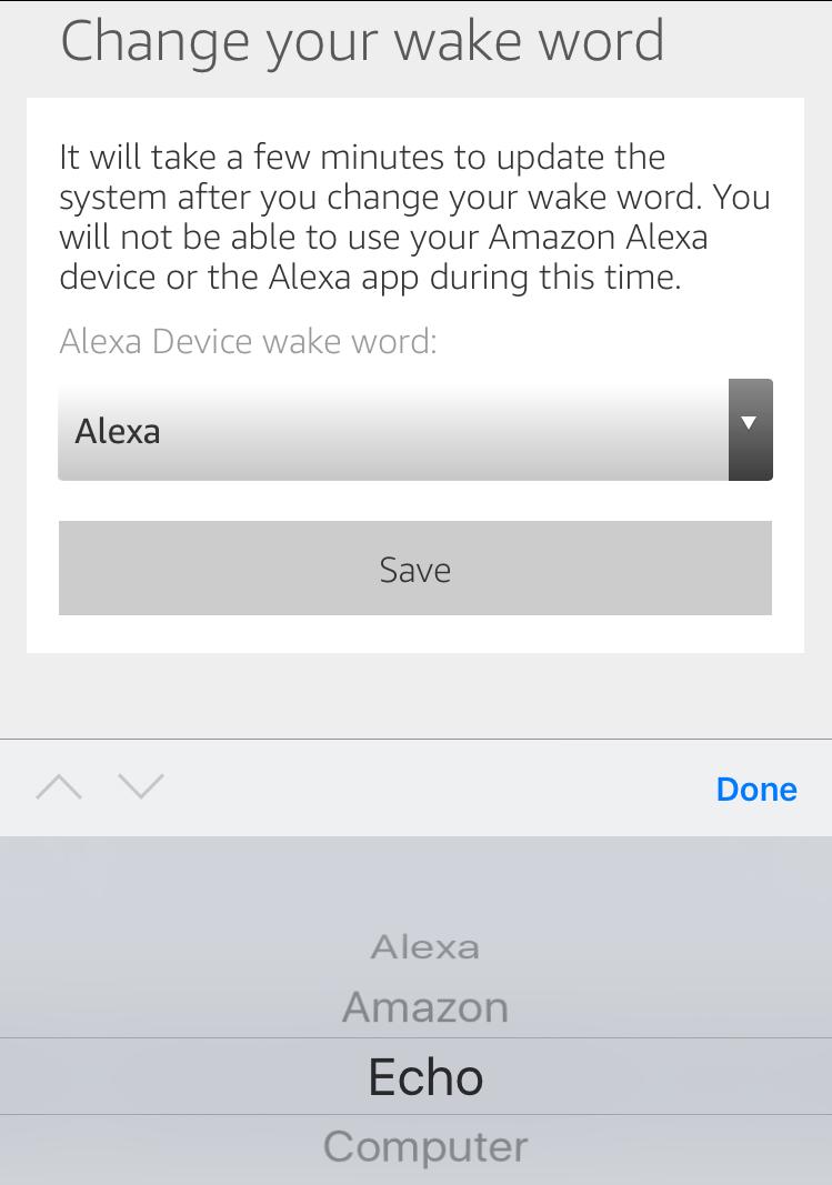 change amazon echo wake word to computer