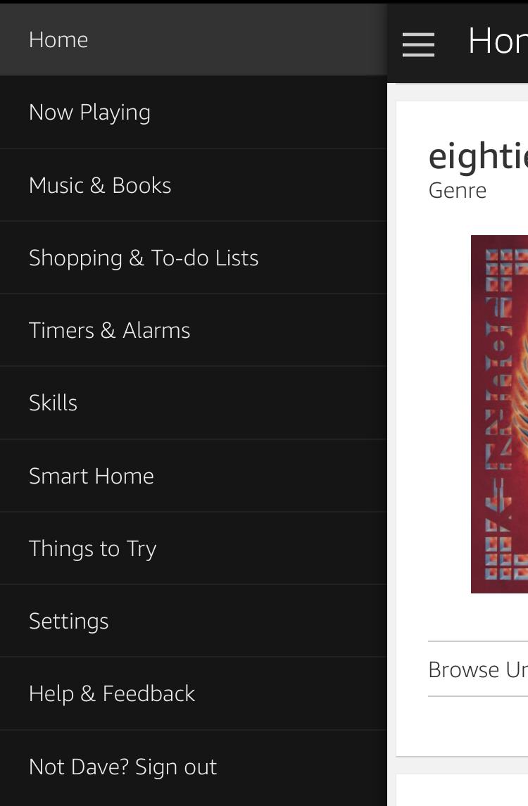 amazon alexa app main menu settings configuration customization