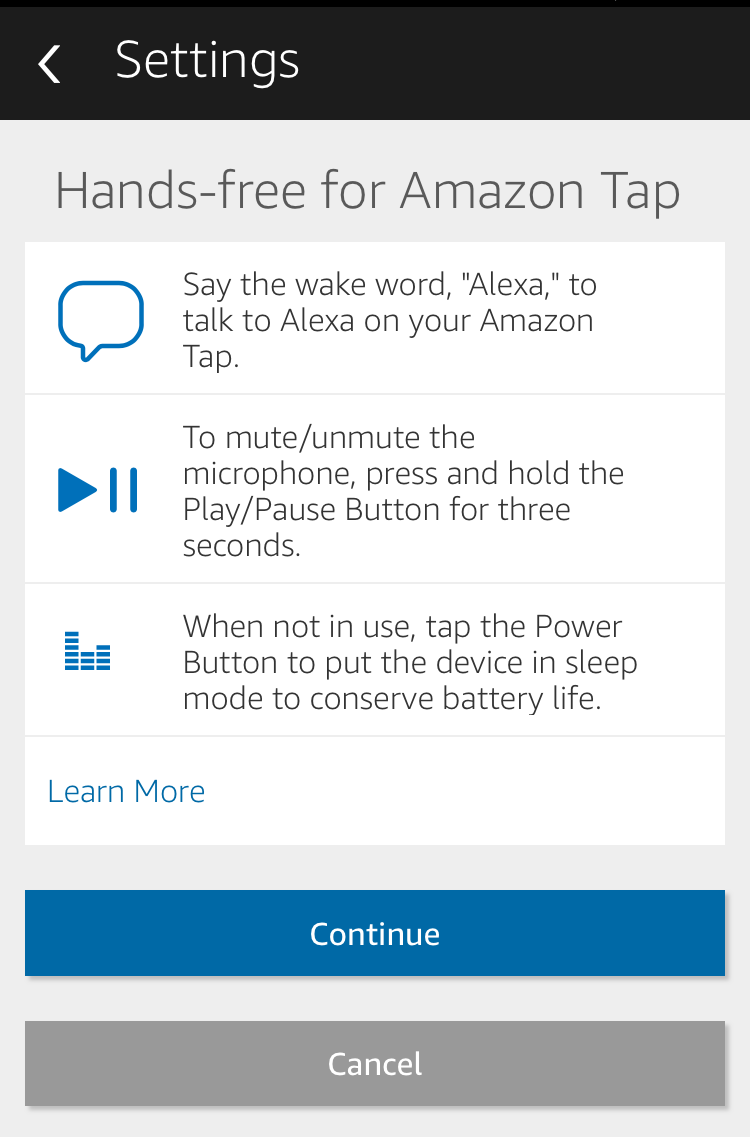 amazon tap echo alexa hands-free functionality settings configuration