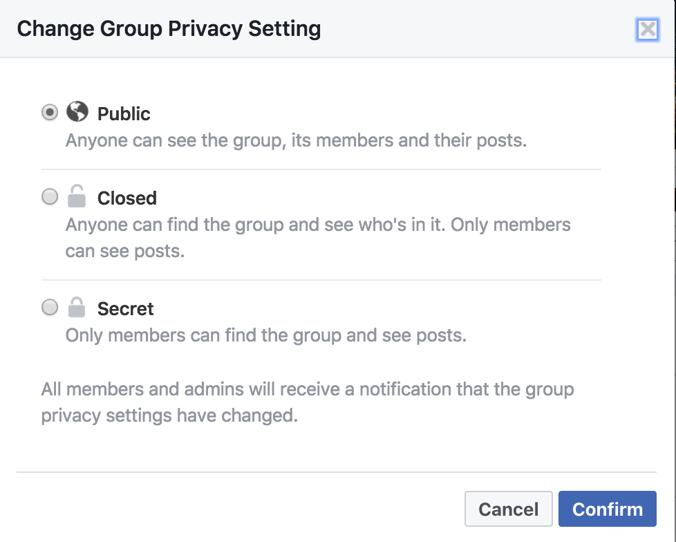 group privacy settings, facebook