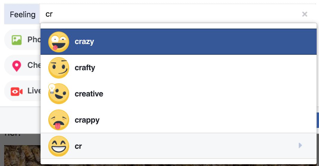 facebook feelings start with cr