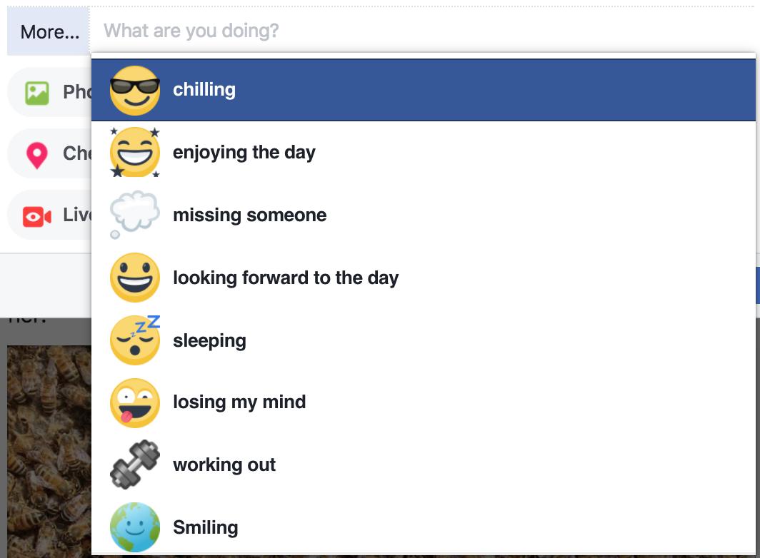 facebook feelings more options