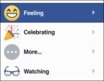 easy way to work facebook feelings status update