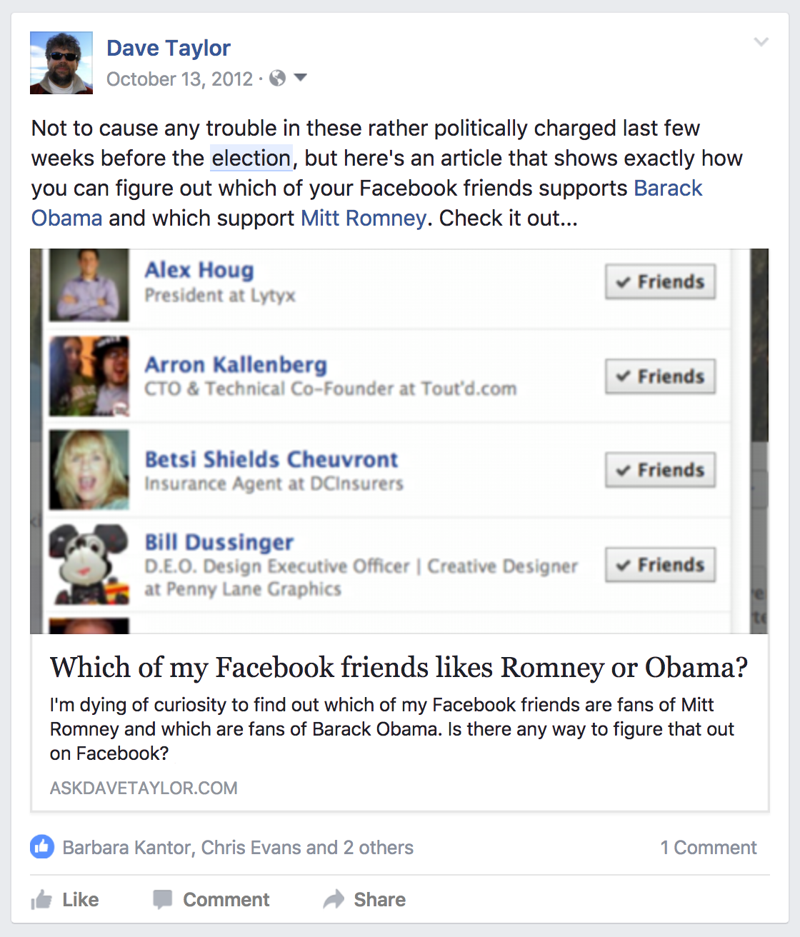 old facebook political election status update post 2012