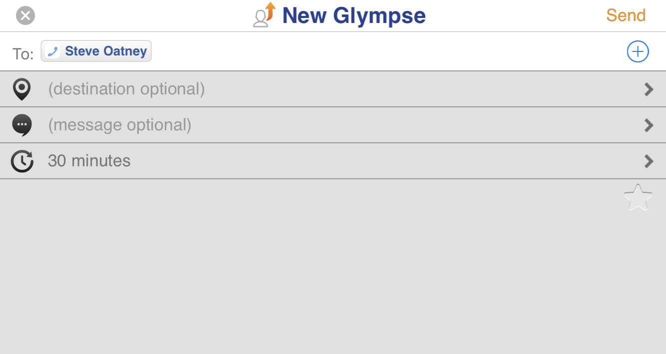 share glympse location with steve