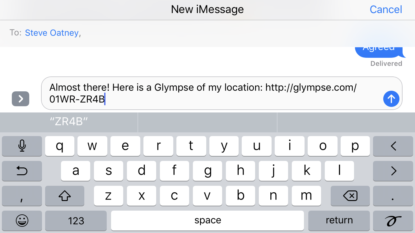 send text message with glympse link