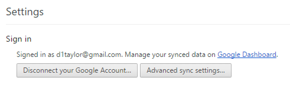 google chrome signed in google account