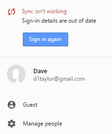 google chrome cannot sync fix repair