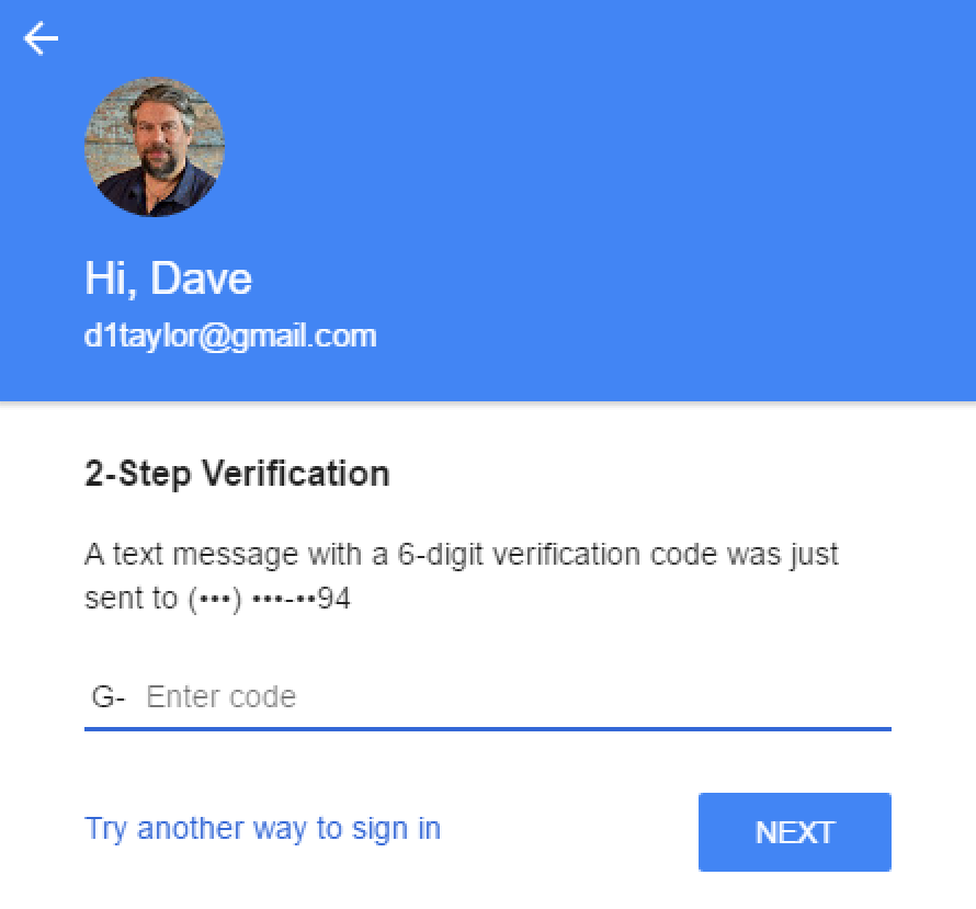 google 2-step verification login