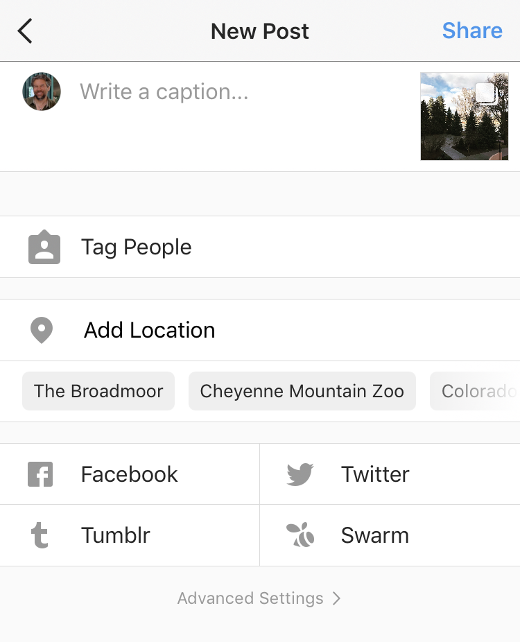 enter data description location shares instagram