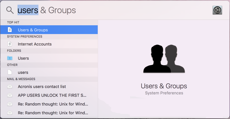 mac spotlight add user