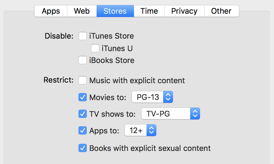 limit itunes store parental controls apple imac