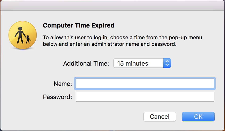 mac child user account, computer time expired
