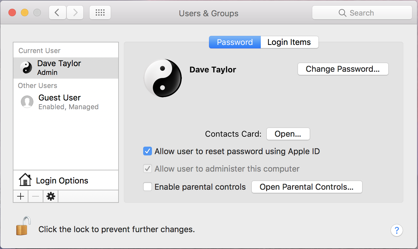 mac os x system preferences users & groups