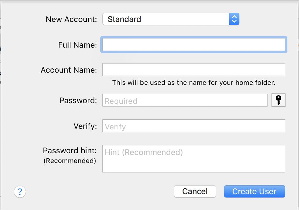 add mac os x macos new user account