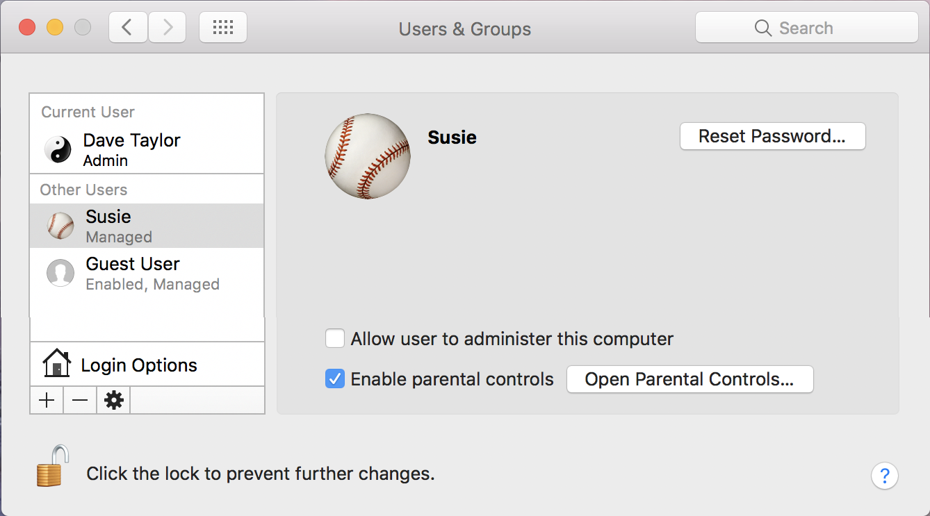 Create Mac User Account with Parental Controls? - Ask Dave