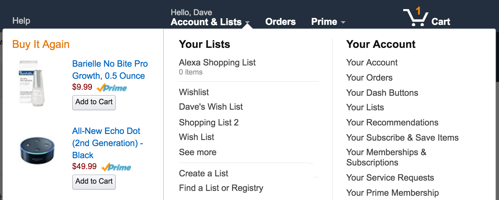 view amazon wish lists