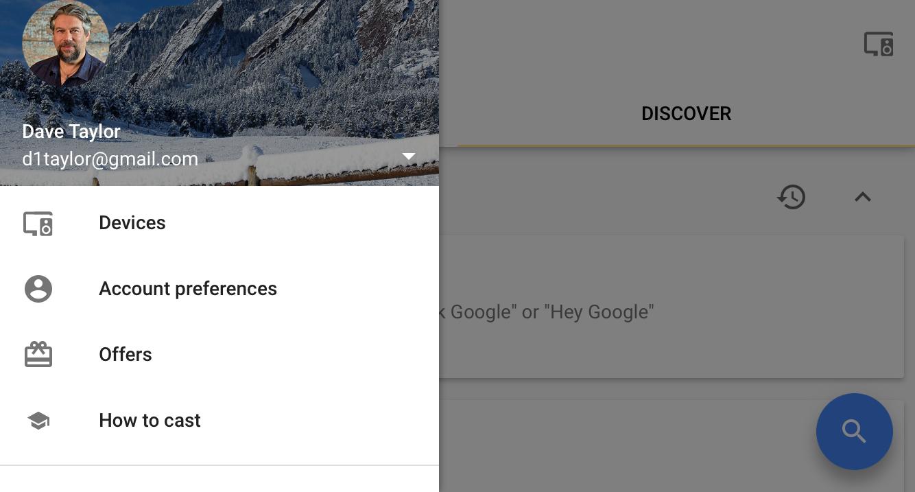 main menu, google home app