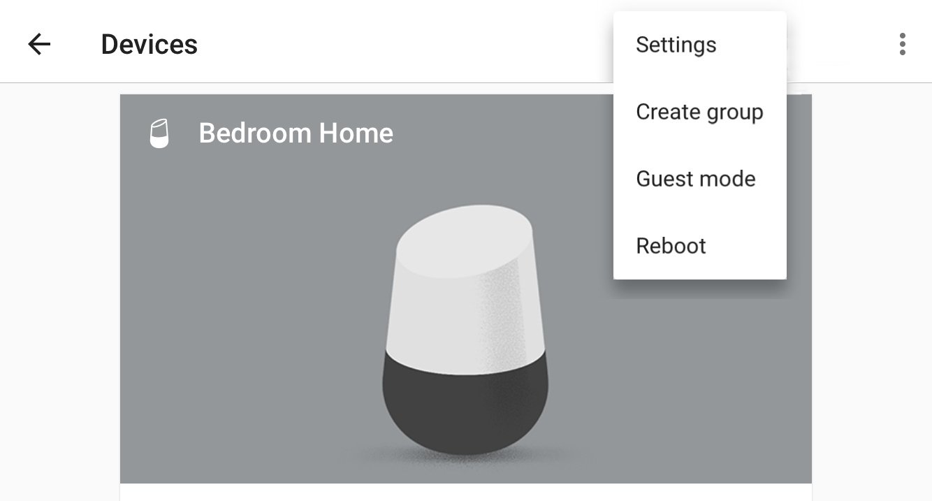 google home app device menu