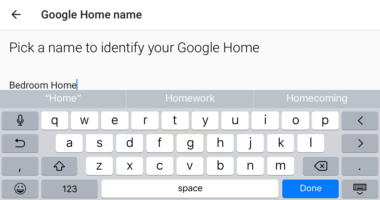 enter new google home device name