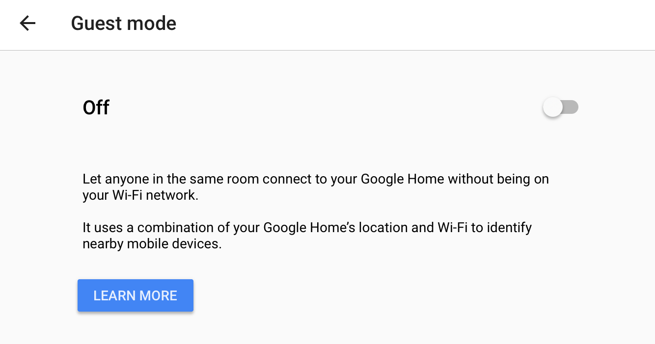 google home guest mode info setting preference enable disable
