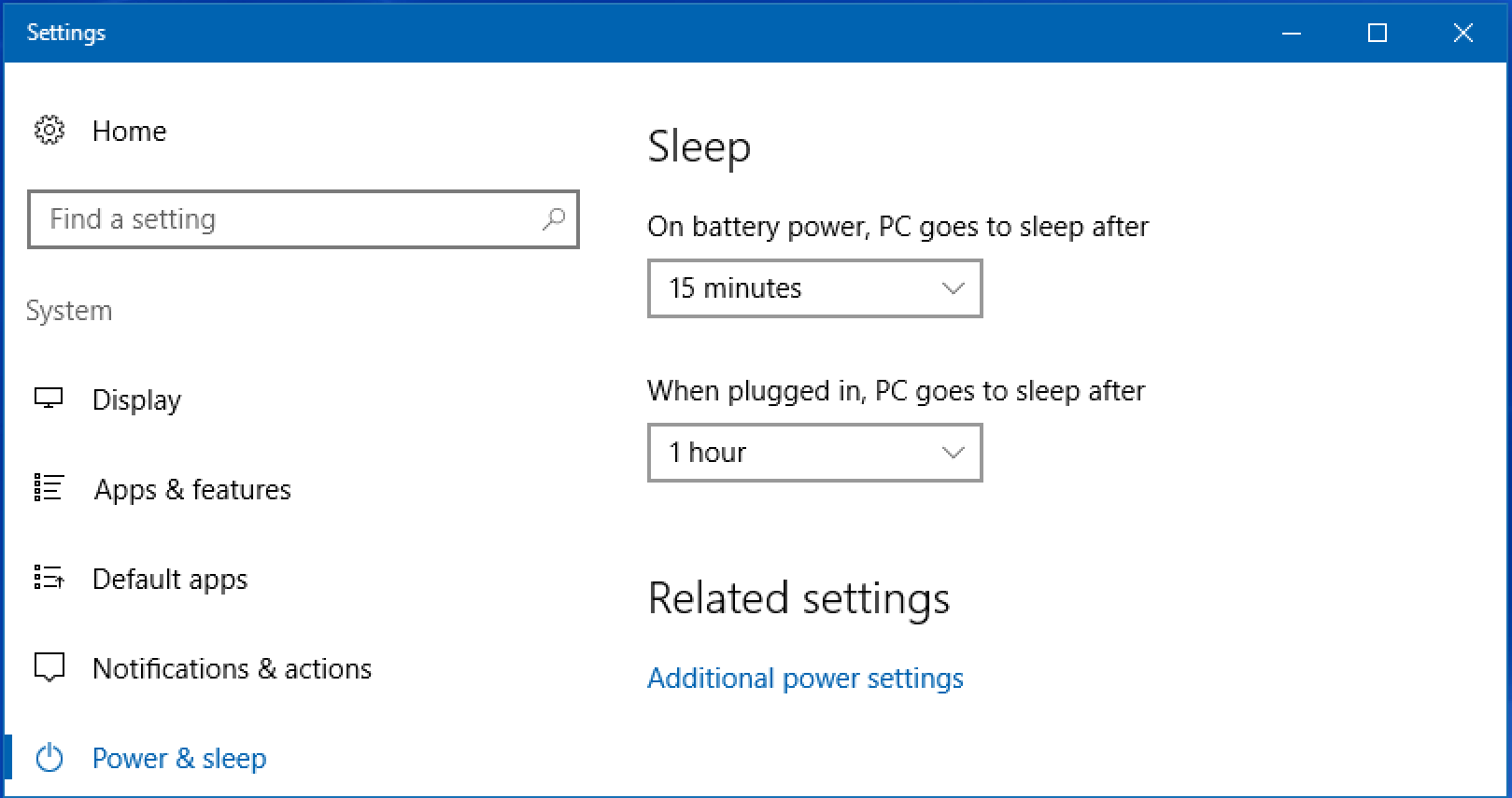 how to change settings for sleep mode on windows 10