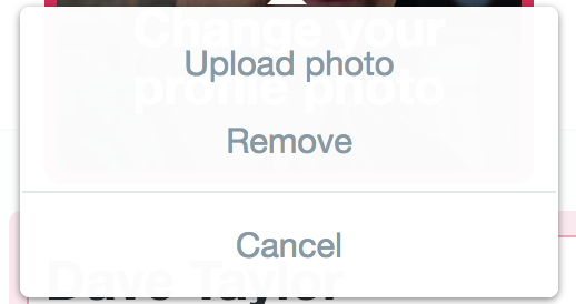 upload photo / twitter profile picture