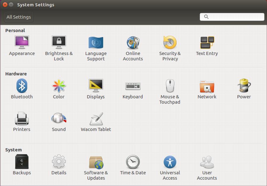 system control panels preferences ubuntu gnome linux