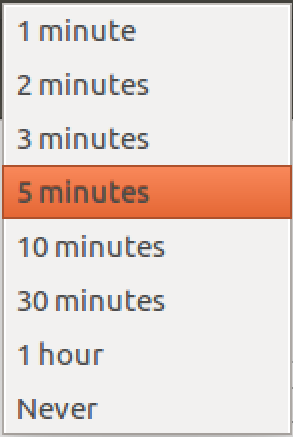 ubuntu linux screen lock inactivity time options