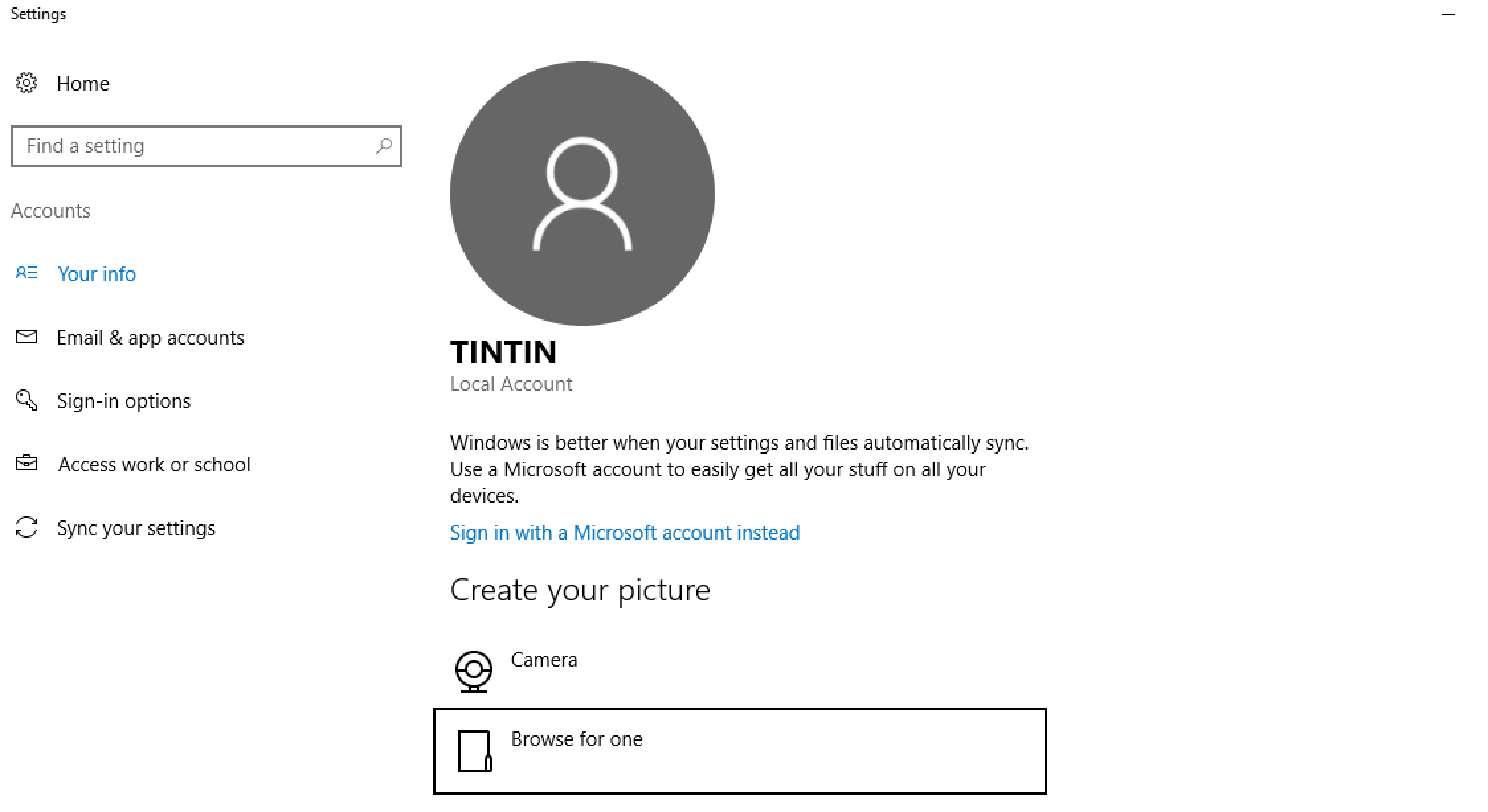 microsoft windows 10.1 account settings default generic account photo picture