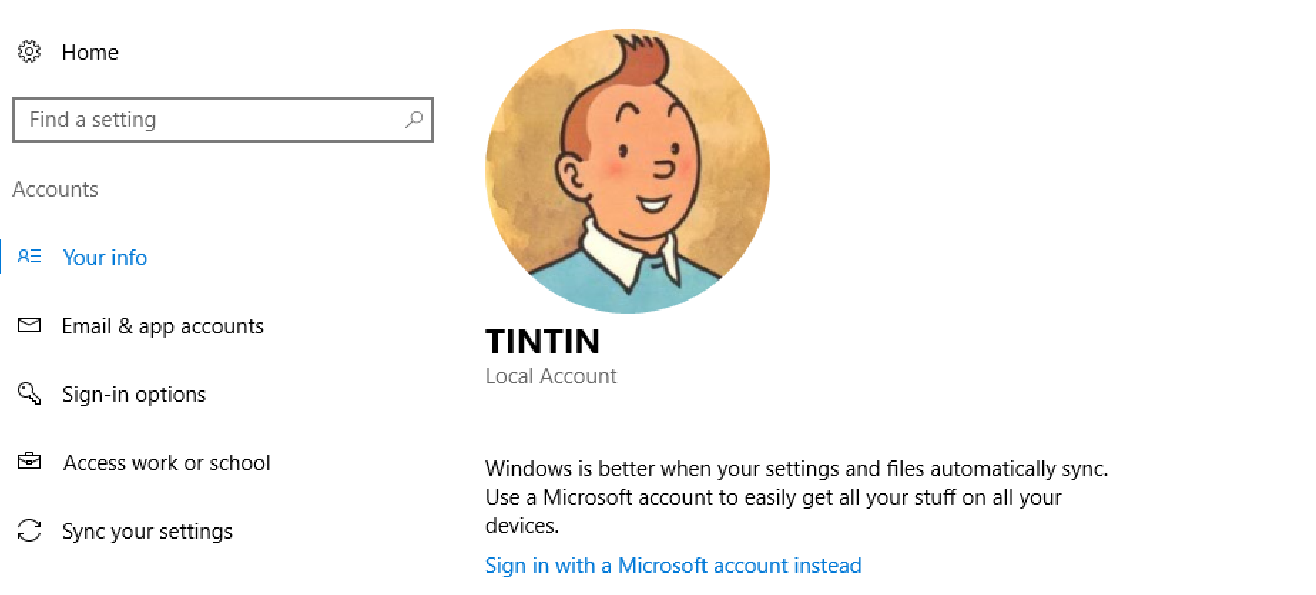 windows win10 user profile with photo picture