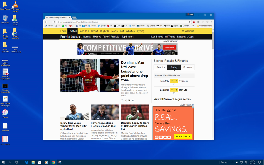 windows 10 win10 desktop blue google chrome window bbc sports soccer
