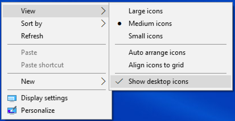 win10 desktop context menu