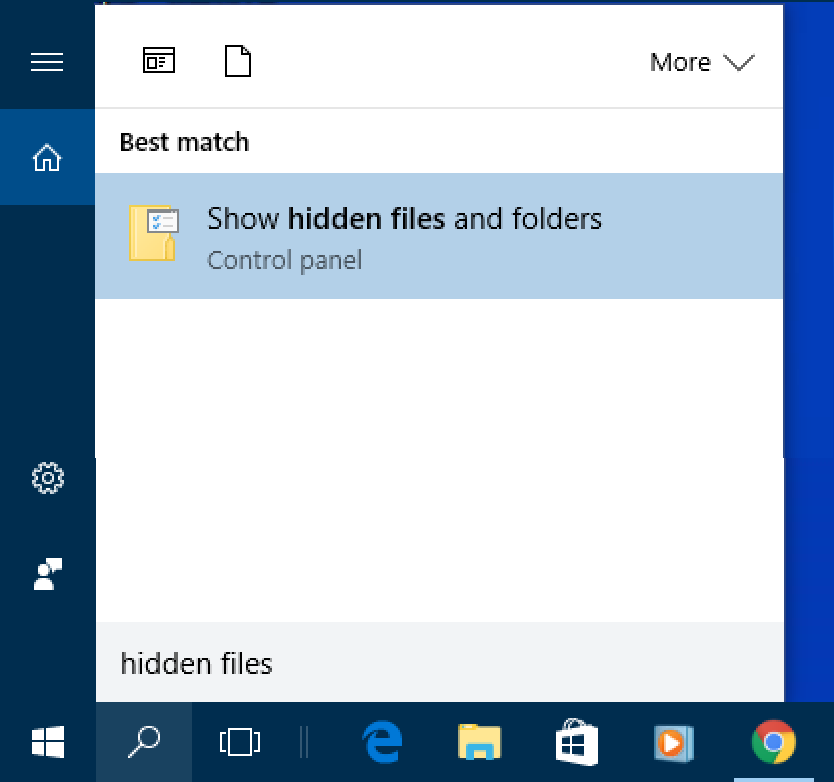 win10 cortana search hidden files folders