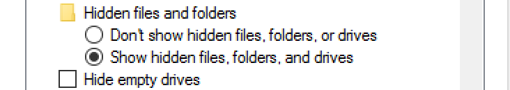 show hide files folders drives win10