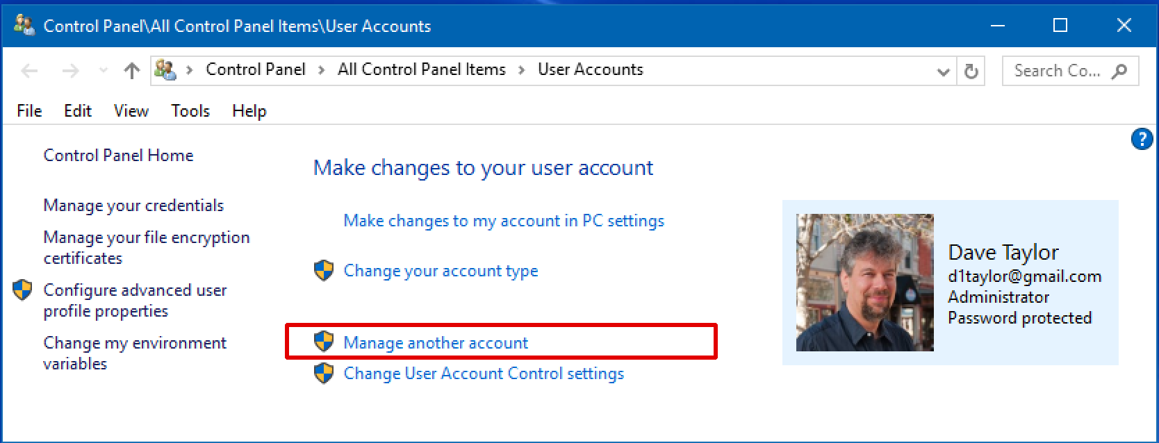microsoft windows 10 win10.1 account settings