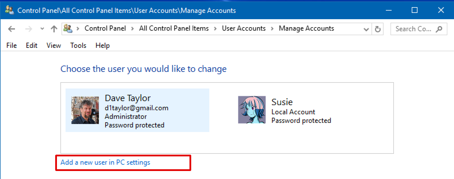 windows 10 win10.1 manage user accounts add new user