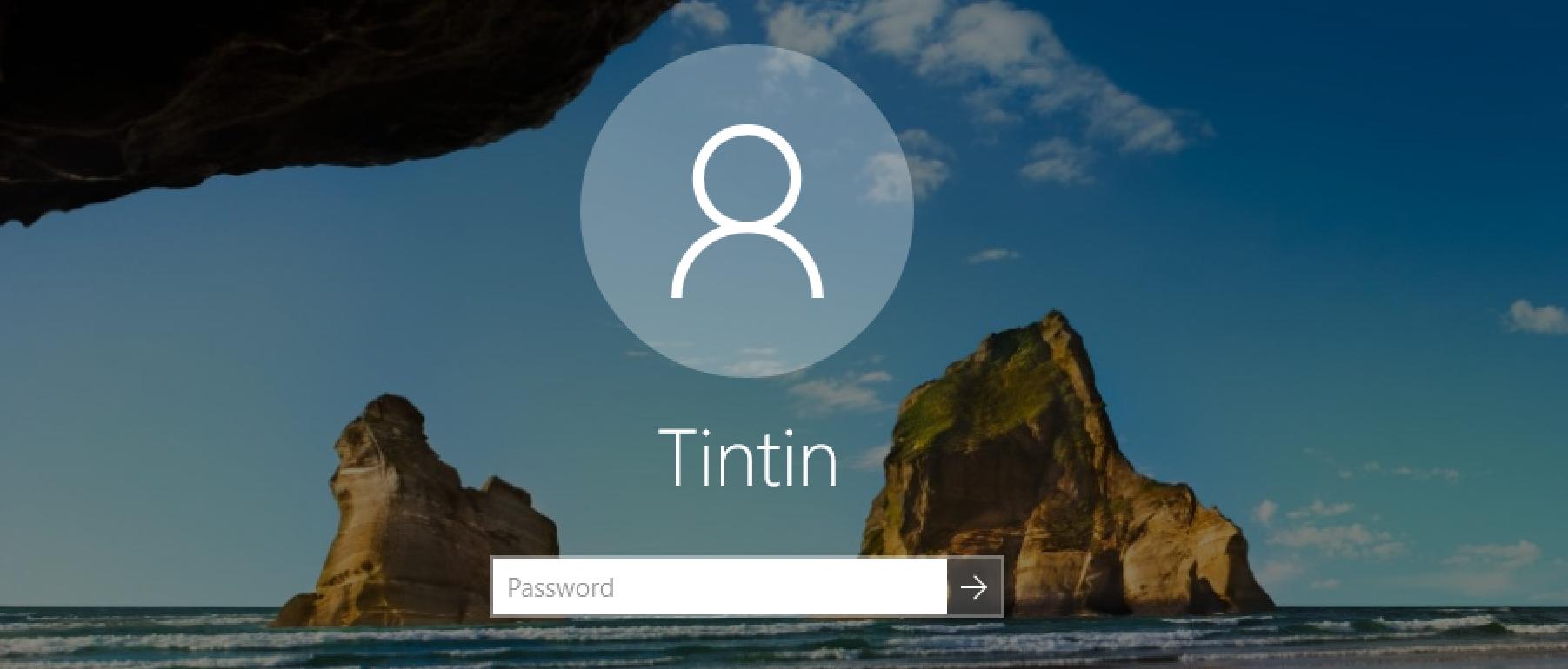 log in to local windows 10.1 user account tintin