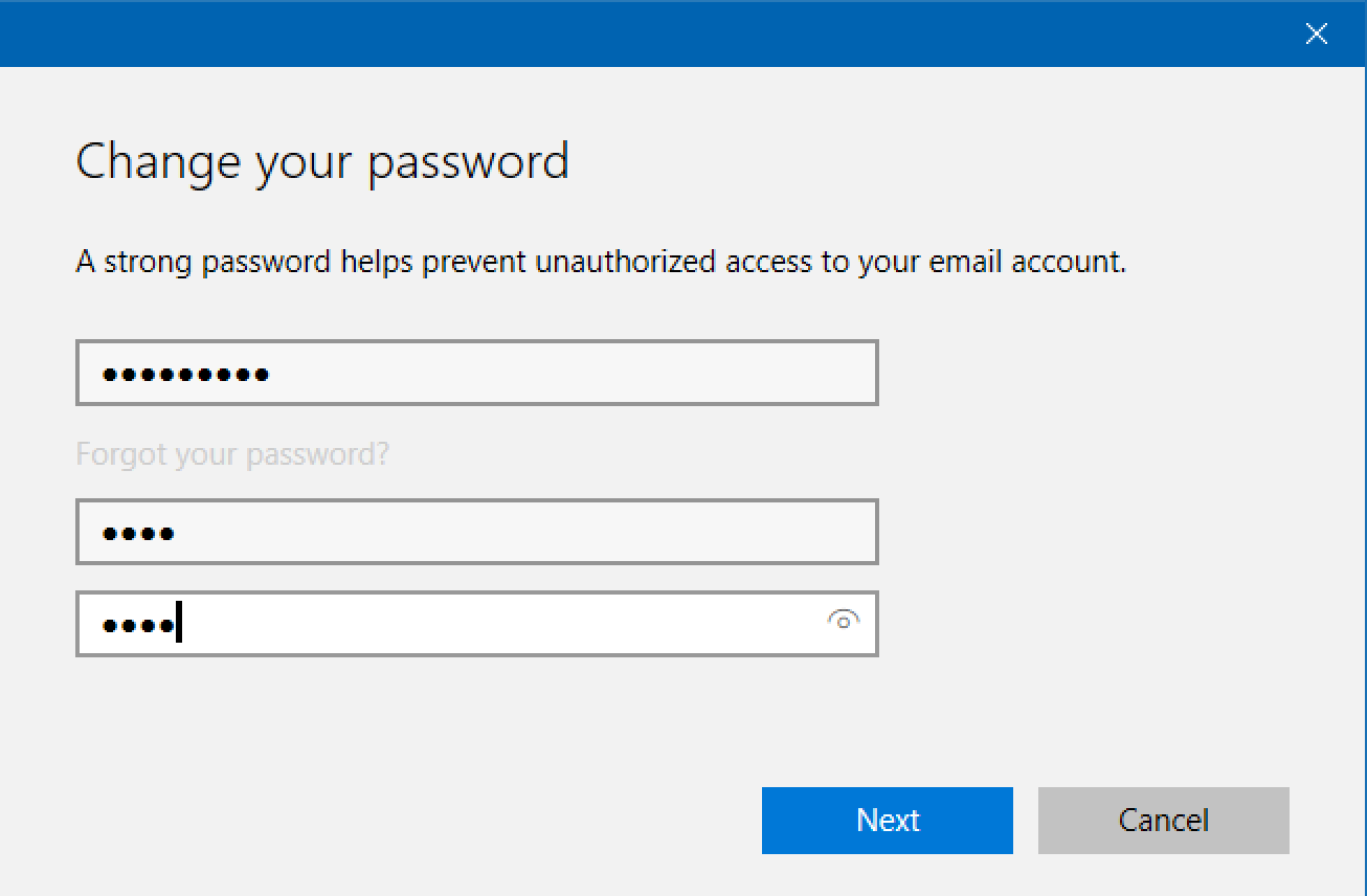 win10 change password no info shown