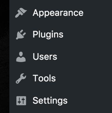 wordpress dashboard options menu