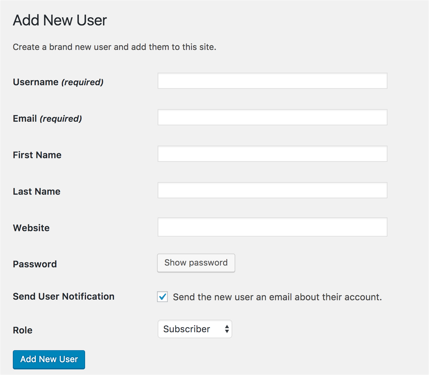 add new wordpress user create account