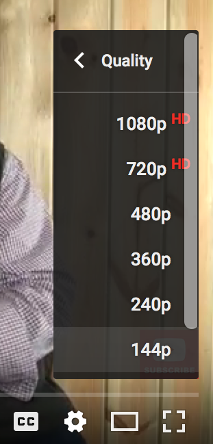 youtube video playback quality / resolution