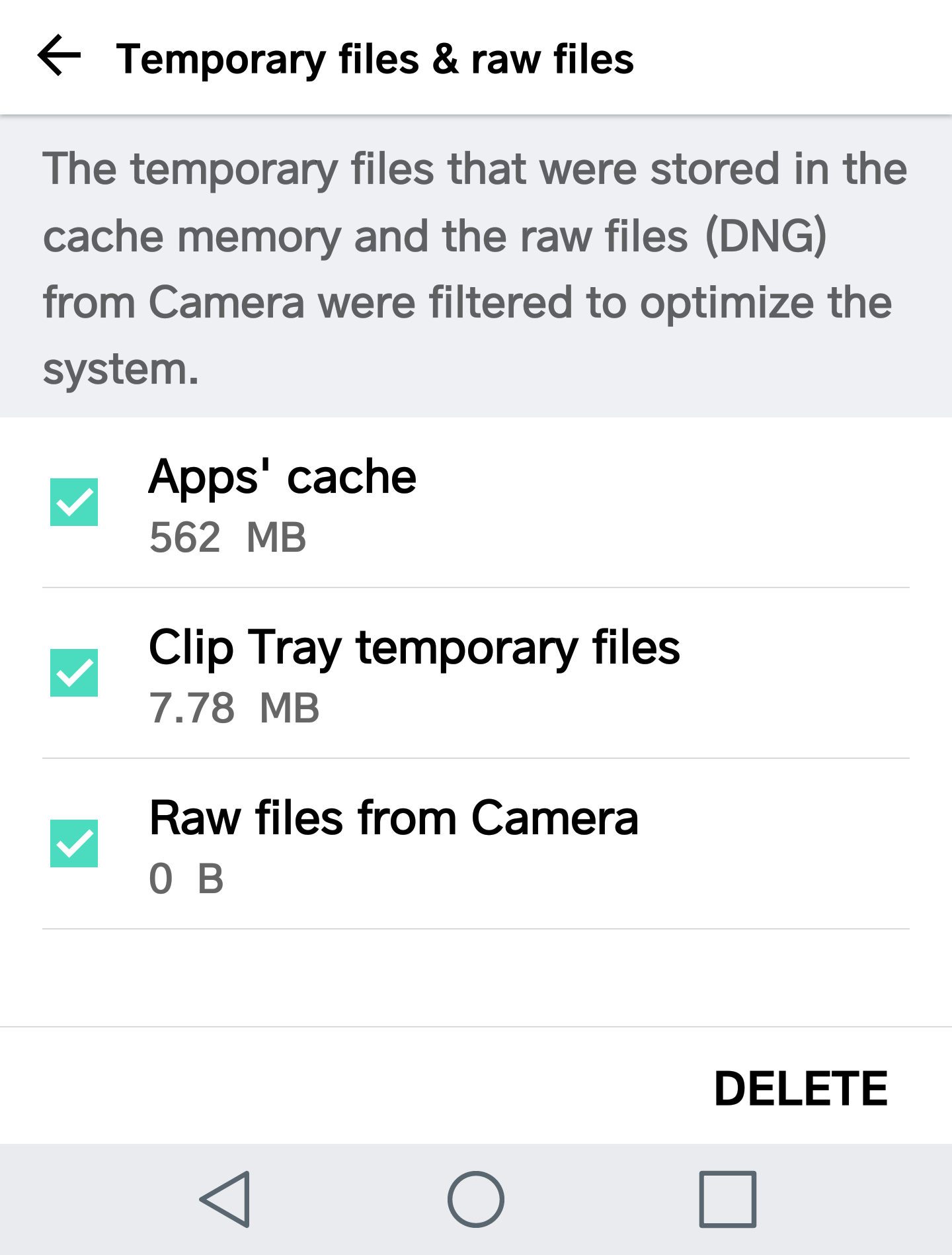 android smart cleaning - temporary files