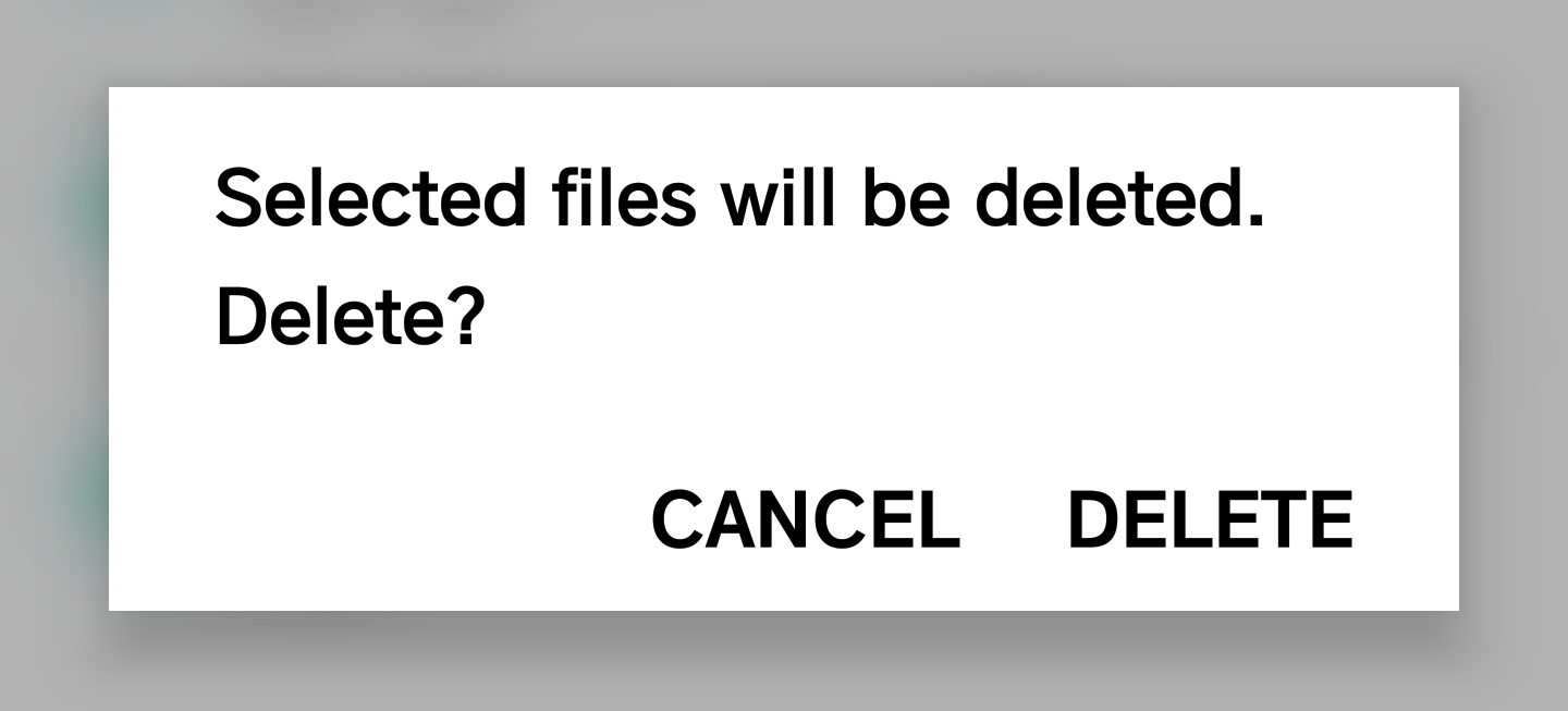 confirm deletion temp files android
