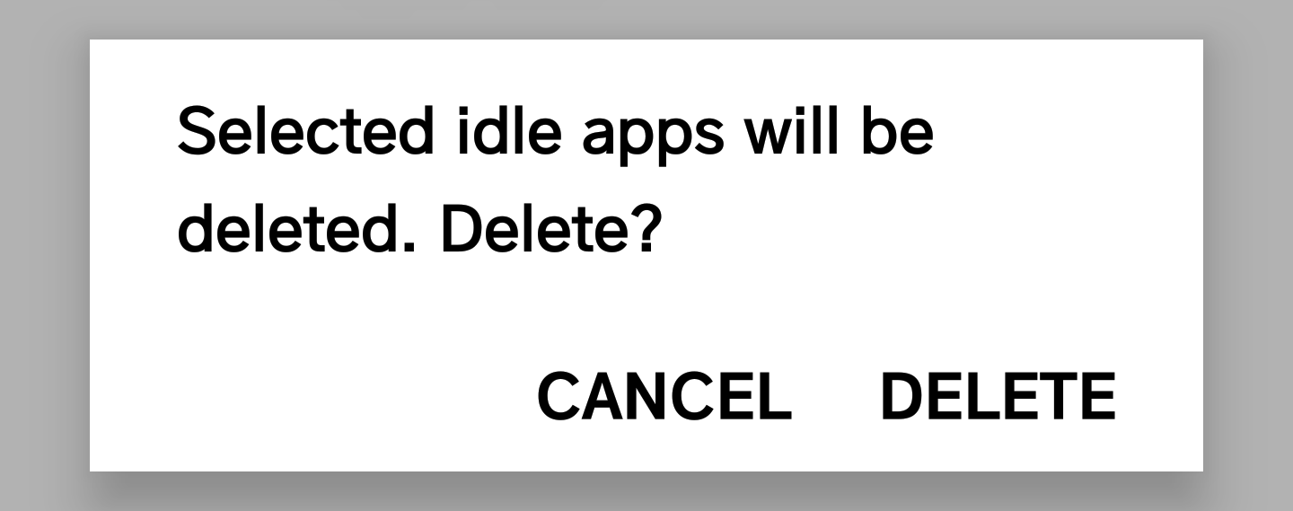 confirm deletion apps android