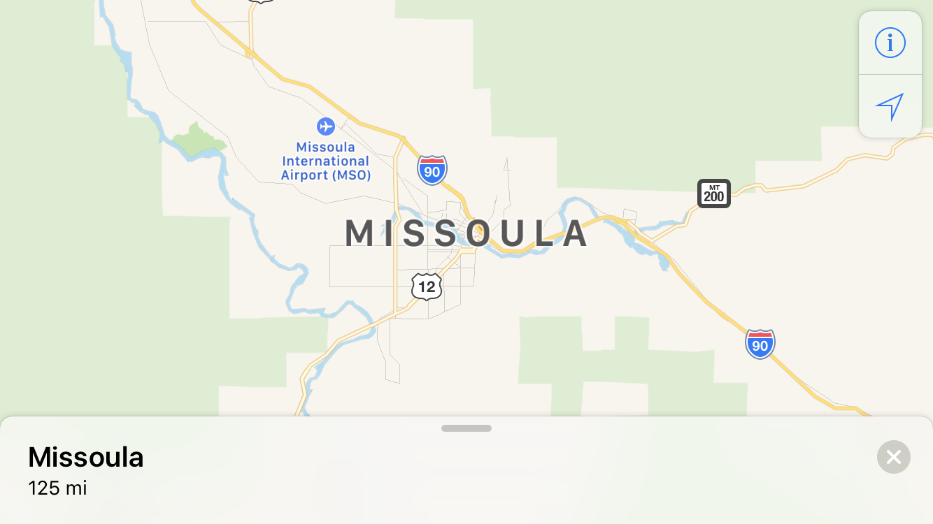 enter location name apple maps - missoula mt