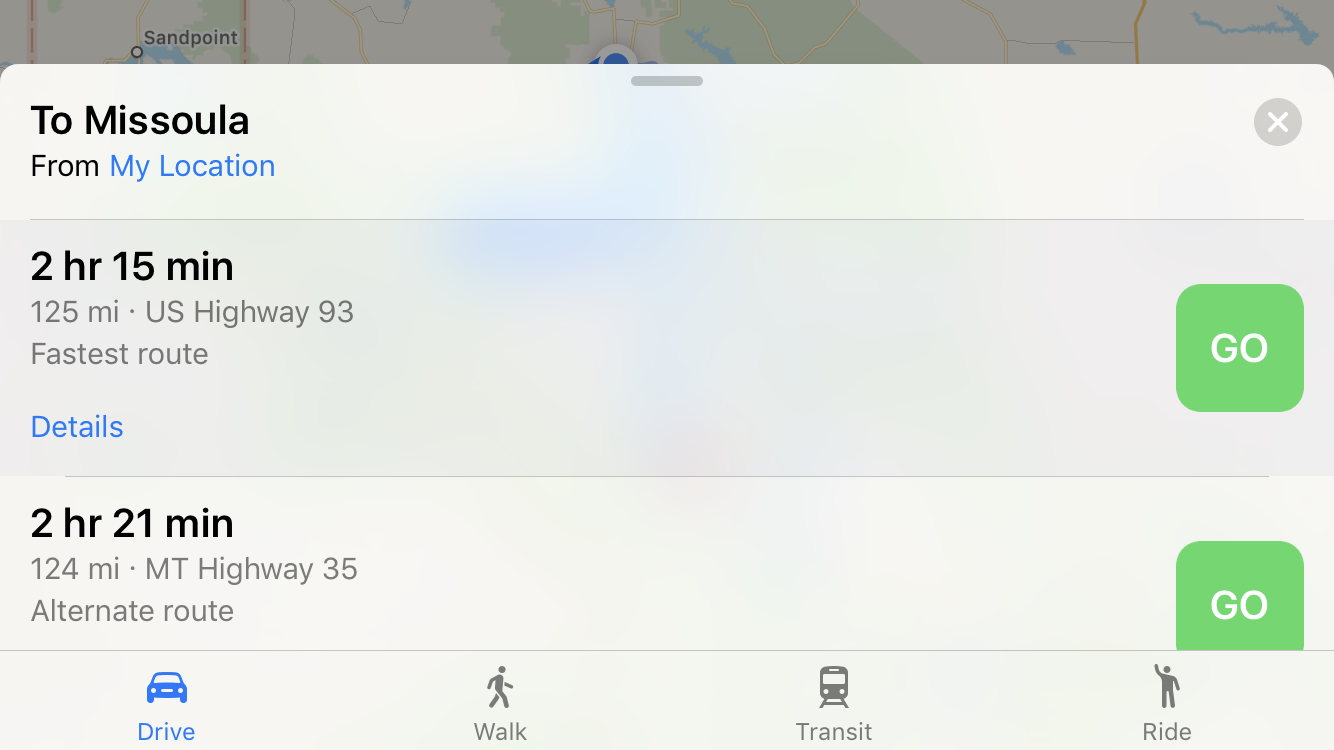 pick a driving route, apple maps